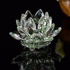 wedding flowers paperweight 90mm green quartz glass lotus flower paperweight feng shui