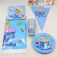 baby boy 1st birthday ideas 62pcs lot decoration tablecloth boys kids favors napkins 1st