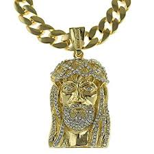 jesus piece necklace images Iced out jesus piece pendant gold finish 33 quot chain cuban link 15 jpg
