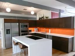 Eichler Kitchen Remodel With Painted Glass Backsplash Modern - Painted glass backsplash