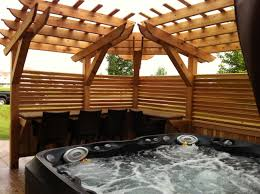 Privacy Pergola Ideas by Stamped Concrete Tub Patio With Custom Pergola For Privacy And