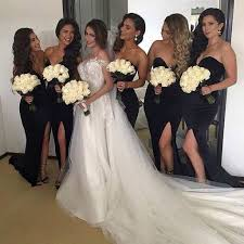 black bridesmaid dresses simple black sweet heart side split mermaid cheap