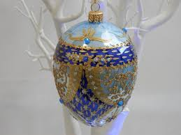 duck egg blue and navy bonbonniere egg ornament