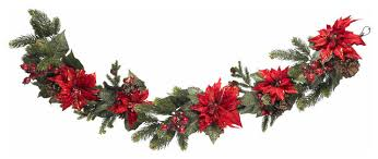 nearly 60 poinsettia and berry garland traditional