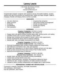 Caregiver Resume Example by Home Design Ideas Sample Caregiver Resume Resume Samples For