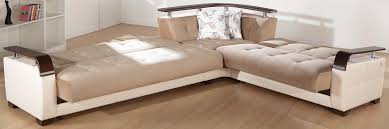 Sectional Sofa Bed With Storage Natural Convertible Sectional Sofa In Naomai Light Brown By