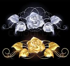 silver roses gold and silver roses stock vector colourbox