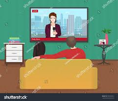 young family man women watching tv stock vector 509594842