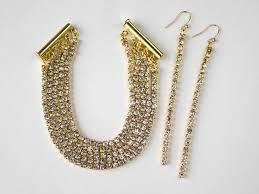 rhinestone chain bracelet images Rhinestone cup chain bracelet and earrings JPG