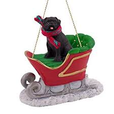black pug in sleigh ornament new home