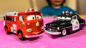 disney cars movie toys red fire truck sheriff police car