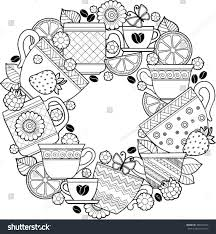 vector coloring page cups herbal tea stock vector 386574763