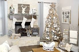 farmhouse decor with a neutral tree and mantel