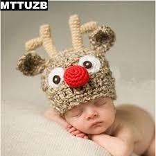 Baby Boy Photo Props Mttuzb Fashion Children Cartoon Deer Knitted Hat Infant Crochet