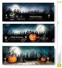 three holiday halloween banners with pumpkins stock vector