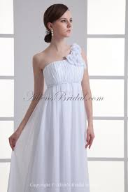 allens bridal chiffon one shoulder empire floor length flowers