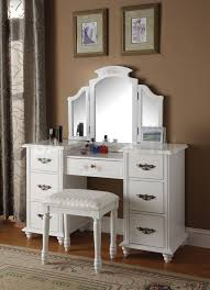 bedroom elegant brown makeup vanity table with lighted mirror and