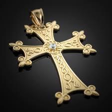 armenian crosses mens gold armenian apostolic cross diamond solitaire pendant