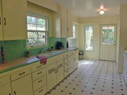 green kitchen design and decoration using black and white tile