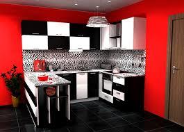 Kitchen Design Color Schemes Black And White Kitchen With Red Color Schemes For Modern Kitchen