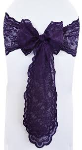 purple chair sashes regency lace wedding chair sashes wholesale