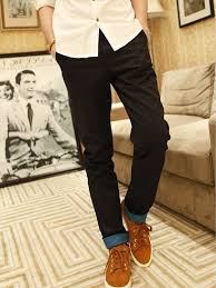 new fashion men skinny long pants black