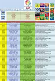 World Cup Table Icc World Cup Cricket 2011 Schedule And Details Time Table Of Icc
