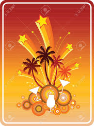 summer party symbolic illustration in retro style of a fun beach