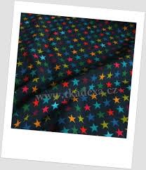 Modre by Metráž Látky Zimní S Potiskem Softshell Hvězdičky Na Tm