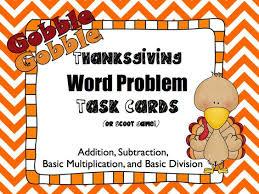 freebie thanksgiving word problem task cards freebie math ideas