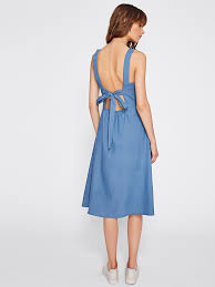 open back bow tie detail chambray dress u2013 the style syndrome