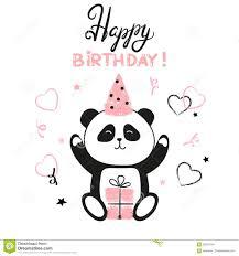 happy birthday panda bear stock illustration image 74224079