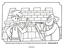 Nehemiah Coloring Page ezra and nehemiah bible coloring pages what s in the bible