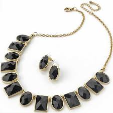 necklace with black stones images Looks stunning on fashion dress wear gold plated costume jewellery jpg