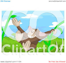 cute monkey swinging on vines in a rainforest clipart illustration