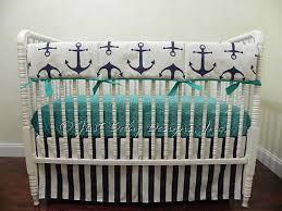 Custom Boy Crib Bedding Custom Bumperless Baby Crib Bedding Set Dane Nautical Baby Bedding