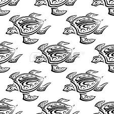 black and white vector doodle sketch seamless pattern of swimming