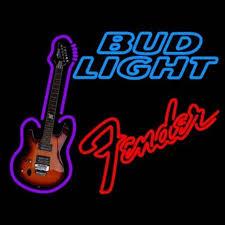 bud light bar light bud light fender red guitar neon signs neon beer sign real glass