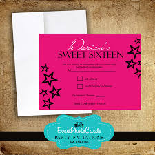 Invitation With Rsvp Card Pink Stars Sweet 16 Rsvp Card Reservation