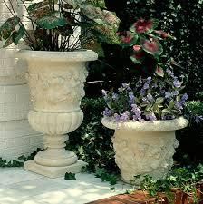 Urn Planters With Pedestal Motif Jardiniere Planters Fine Cast Stone Urns Jardinieres