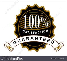 ribbon with words illustration of 100 satisfaction guaranteed black seal and ribbon