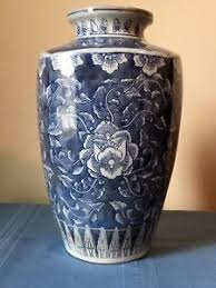 Large Chinese Vases Large Oriental Chinese Vase W Blue And White Floral Pattern Ebay