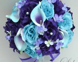 purple and blue wedding wedding bouquets etsy