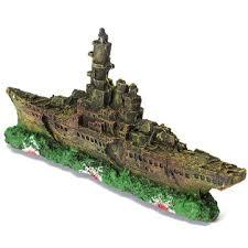 aquarium decoration destroyer navy war ship boat wreck ornament at
