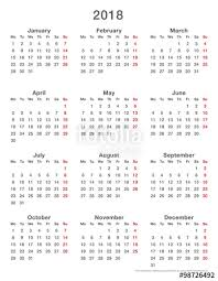 Calendar 2018 Ai Template 2018 Calendar Simple Mondays Format High Stock Image And