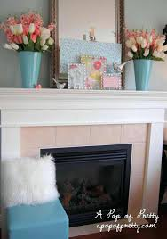 fireplace mantel decorating ideas for summer with tv above