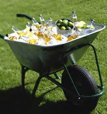 garden party cocktail what a creative use of a wheelbarrow to serve drinks at a party