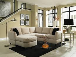 black carpet with small sectionals and sage green wall color for