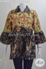 desain baju batik halus baju blus kerah lancip berbahan batik halus desain terkini motif