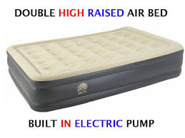 inflatable high pillow raised double flocked air bed mattress
